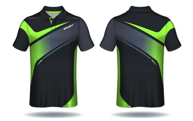 T-shirt polo design, modèle de jersey de sport. Vecteur Premium