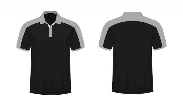 T-shirt Polo Gris Et Noir T Illustration Vecteur Premium