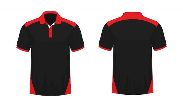 T-shirt polo modèle rouge et noir pour la conception sur fond blanc. illustration vectorielle eps 10. Vecteur Premium