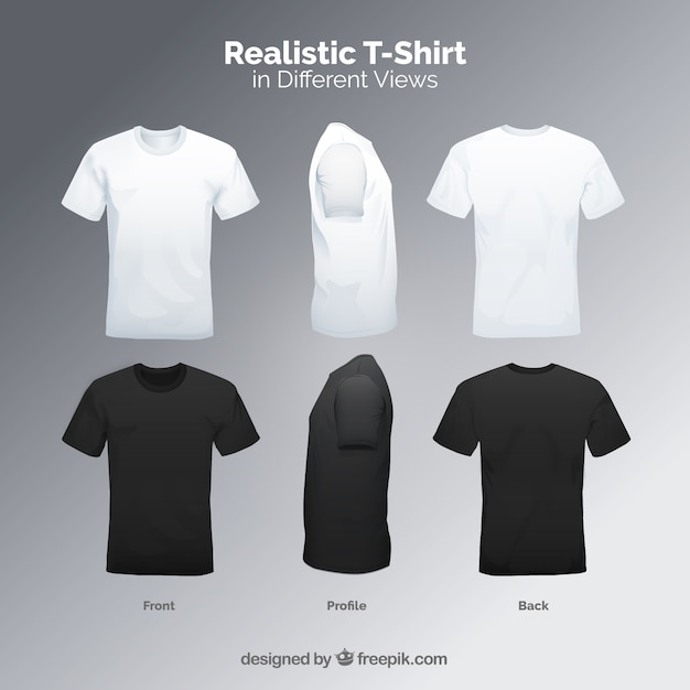 T-shirt Pour Hommes Dans Différentes Vues Avec Un Style Réaliste Vecteur Premium