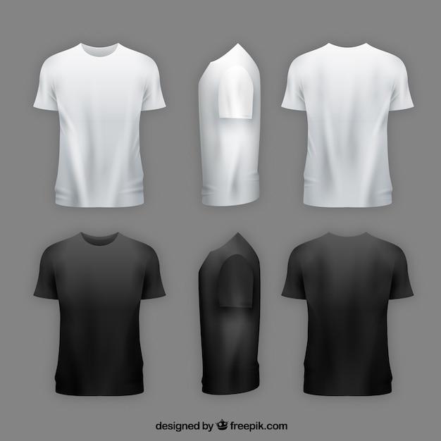 T-shirt Pour Hommes Dans Différentes Vues Avec Un Style Réaliste Vecteur gratuit