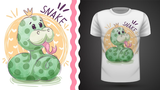 T-shirt princesse mignon serpent - idée d'impression Vecteur Premium