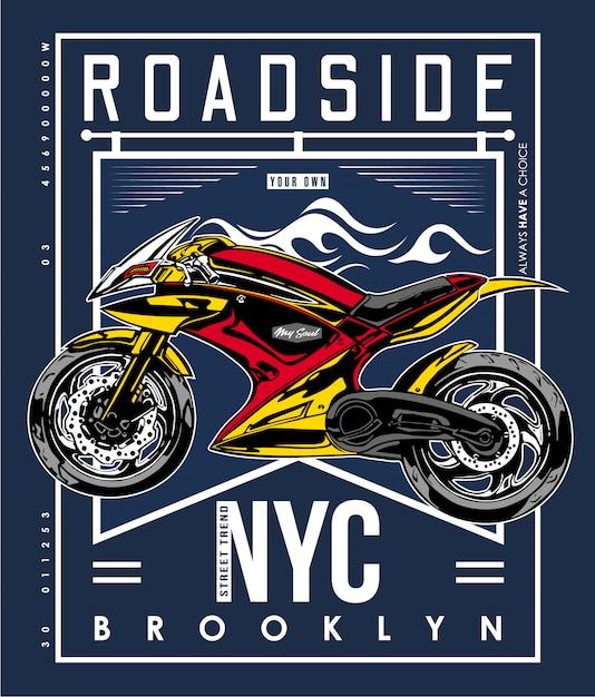 T-shirt routier new york Vecteur Premium