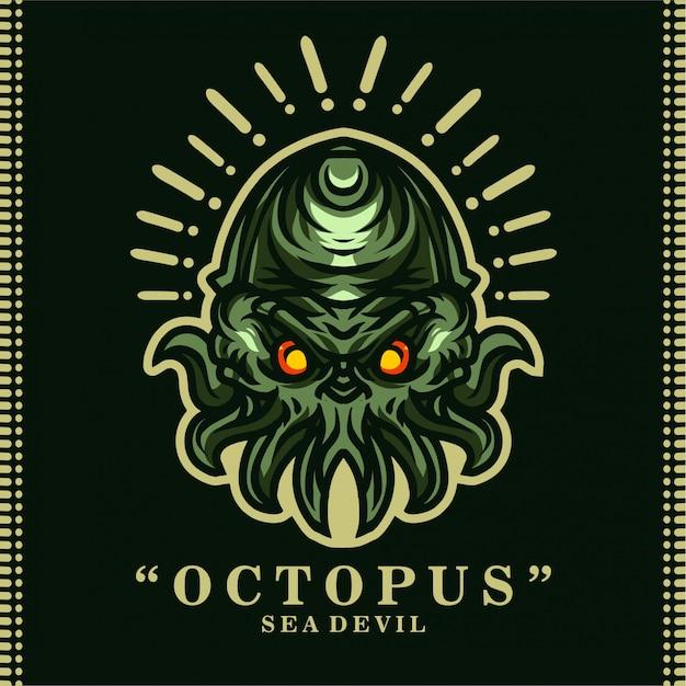T-shirt sea devil octopus Vecteur Premium
