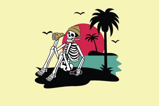 T-shirt skull summer design graphique Vecteur Premium