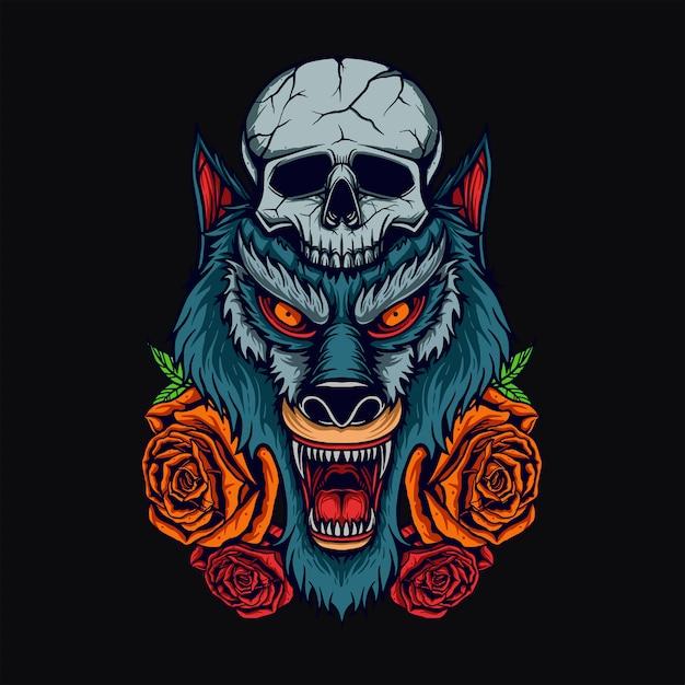 T-shirt tête de loup Vecteur Premium