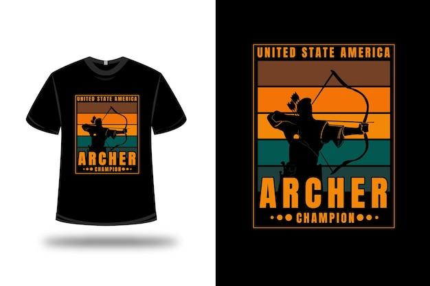 T-shirt United States America Archer Champion Couleur Orange Et Vert Vecteur Premium