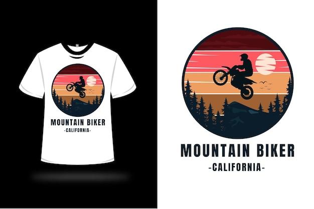 T-shirt Vététiste California Couleur Rouge Orange Jaune Et Bleu Foncé Vecteur Premium
