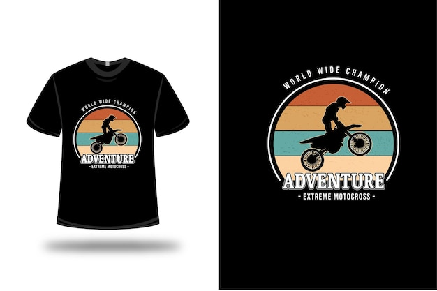 T-shirt World Wide Champion Adventure Extreme Motocross Couleur Orange Jaune Et Vert Vecteur Premium