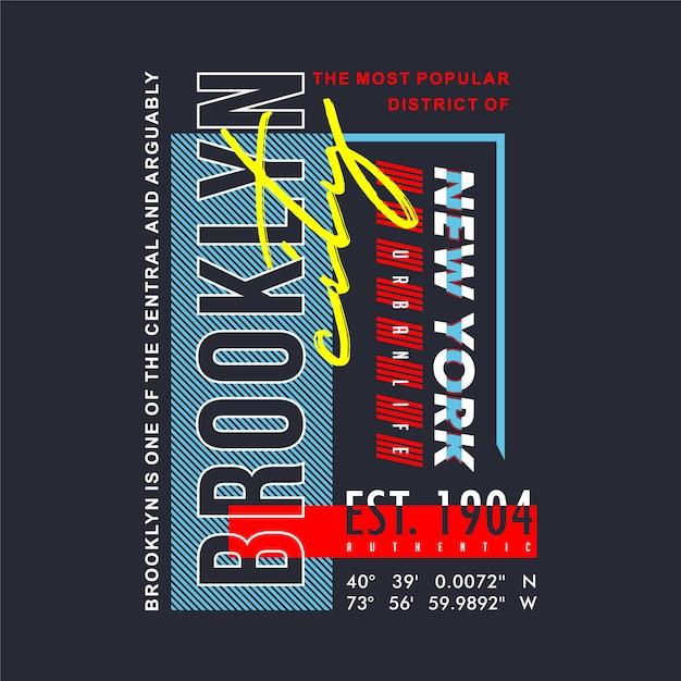 T-shirts de conception de typographie graphique de brooklyn Vecteur Premium