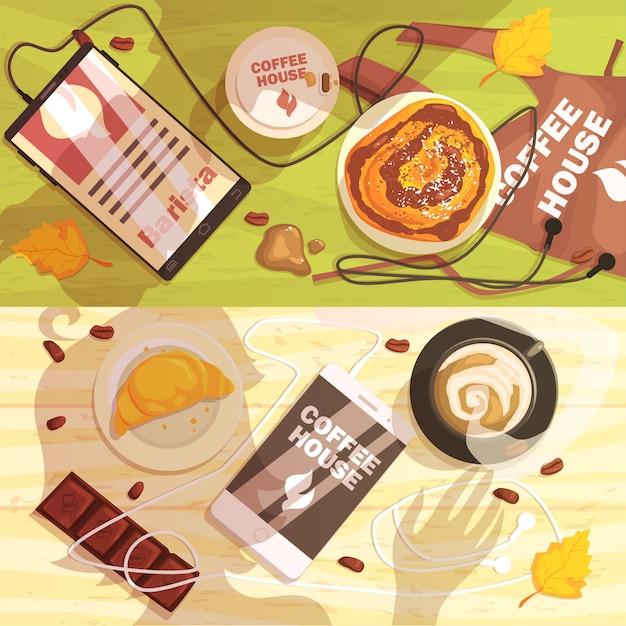 Table De Café Avec Des Tasses Et Des Collations Ombres De Personnes Vecteur Premium