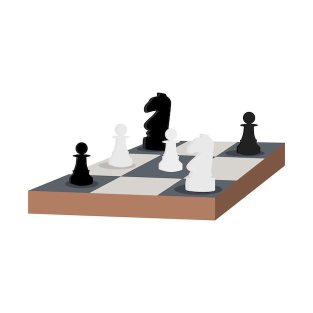 Table d'échecs chevalier et pion illustration vectorielle plane Vecteur Premium