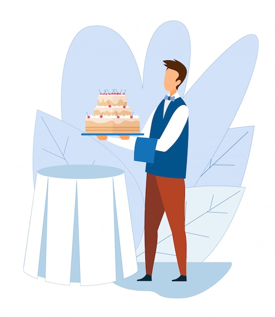 Table De Fête Serveur Sans Visage Avec Gâteau Glacé Vecteur Premium