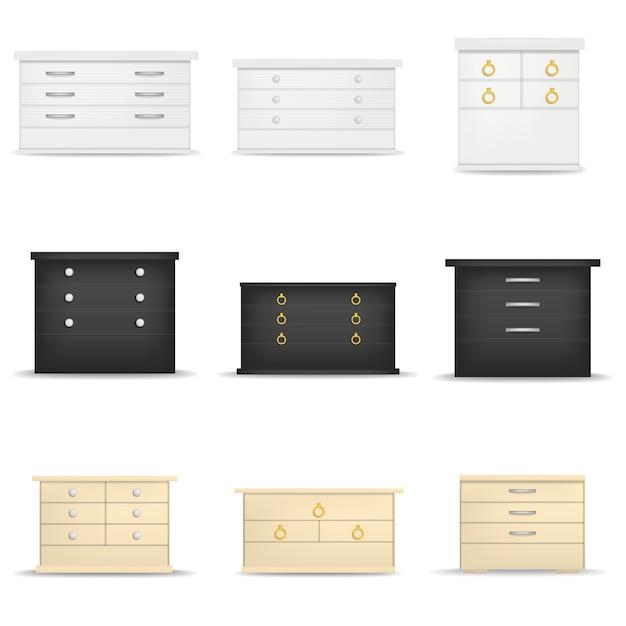 Table de nuit table de chevet maquette ensemble. illustration réaliste de 9 maquettes de table de chevet de table de chevet pour le web Vecteur Premium