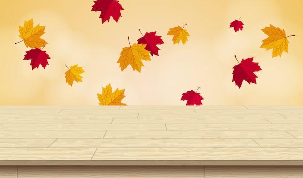 Table de pique-nique en bois réaliste pour illustration vectorielle automne. Vecteur Premium