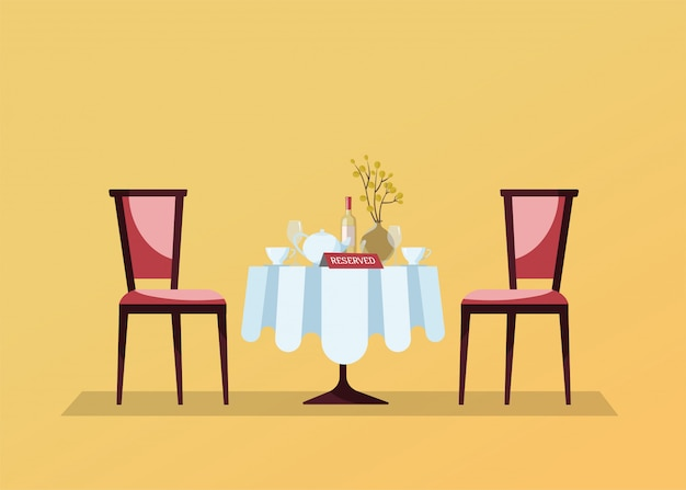 Table ronde réservée avec une nappe blanche, des verres à vin, une bouteille de vin, un pot, des coupes, un signe de réservation avec table et deux chaises molles. illustration vectorielle plat Vecteur Premium