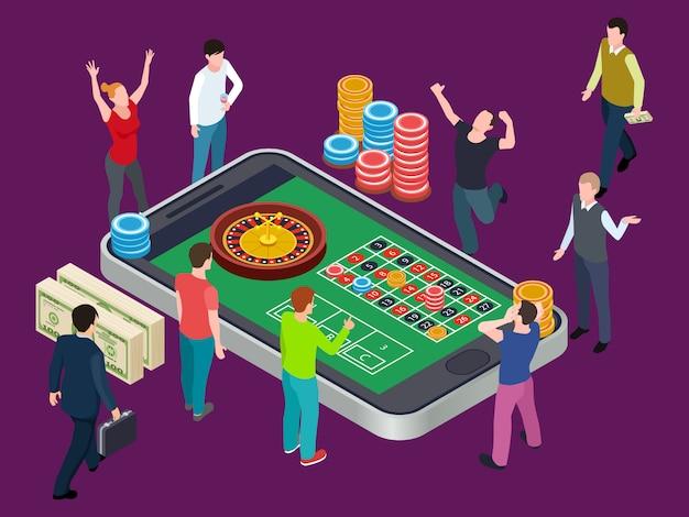 Table De Roulette En Ligne Et Personnes. Concept Isométrique De Casino Vecteur Premium