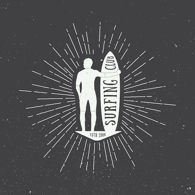 Table de surf avec la silhouette de l'homme Vecteur Premium