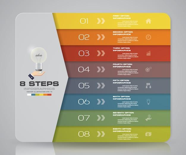 Tableau de 8 étapes pour la présentation des données. Vecteur Premium