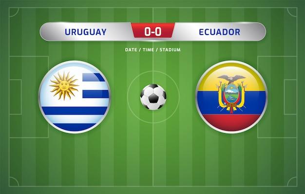 Tableau d'affichage des résultats de l'uruguay contre l'équateur sur le tournoi de football sud-américain 2019, groupe c Vecteur Premium
