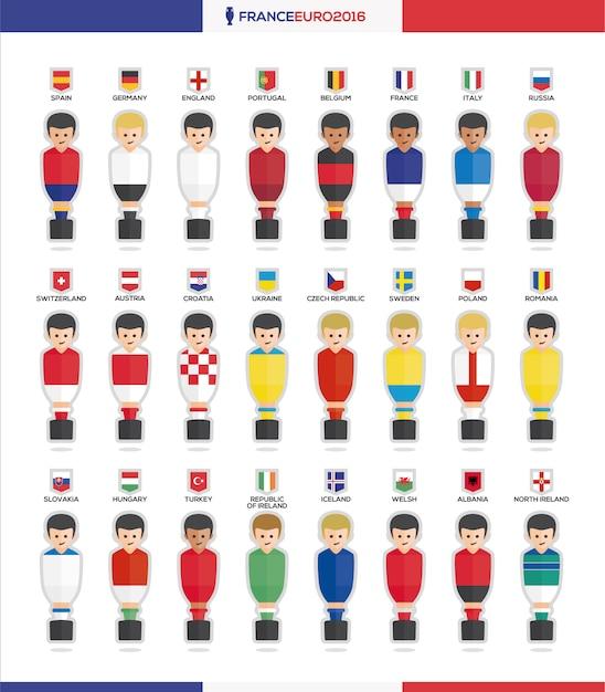 Tableau des avatars de football collection Vecteur gratuit