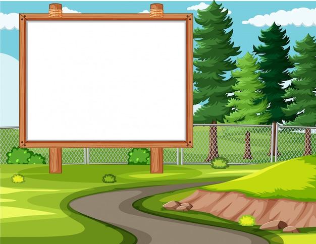 Tableau De Bannière Vide Dans Un Paysage De Parc Naturel Vecteur gratuit