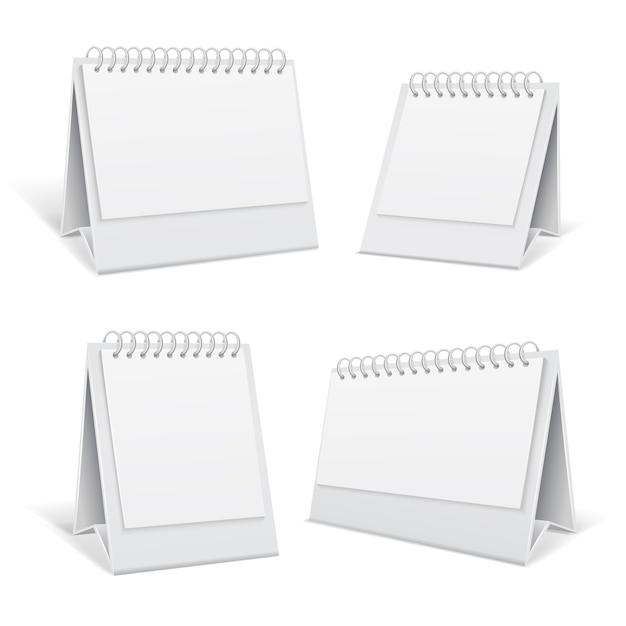 Tableau blanc blanc spirale 3d calendriers de bureau isolé illustration vectorielle Vecteur Premium