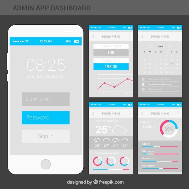Tableau de bord de l'application moderne avec design plat Vecteur gratuit