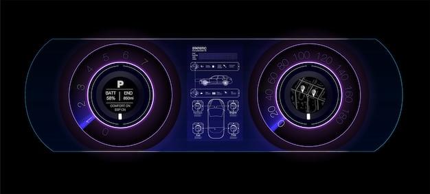 Tableau De Bord Automobile Du Futur. Voiture Hybride. Diagnostic Et élimination Des Pannes. Bleu. Style Hud. Image. Vecteur Premium