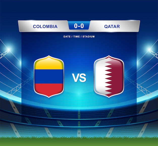 Tableau de bord colombie vs qatar diffusion football copa america Vecteur Premium