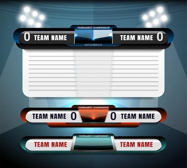 Tableau de bord de diffusion et troisième modèle graphique inférieur pour le football et le football Vecteur Premium