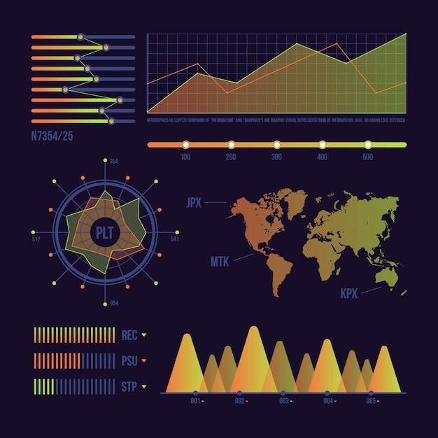 Tableau de bord des données statistiques sur le monde Vecteur gratuit