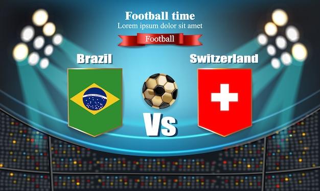Tableau de bord drapeau du brésil vs suisse Vecteur Premium