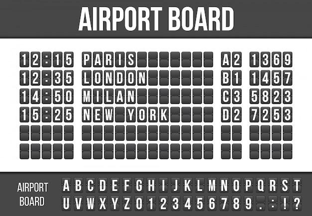 Tableau de bord flip, alphabet conseil arrivée aéroport. Vecteur Premium