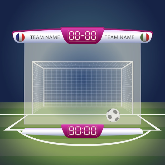 Tableau De Bord De Football Avec Affichage Du Temps Et Des Résultats Vecteur Premium