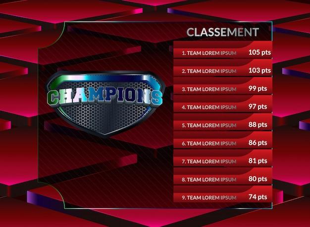 Tableau de bord de football et statistiques globales diffusées modèle de football graphique Vecteur Premium