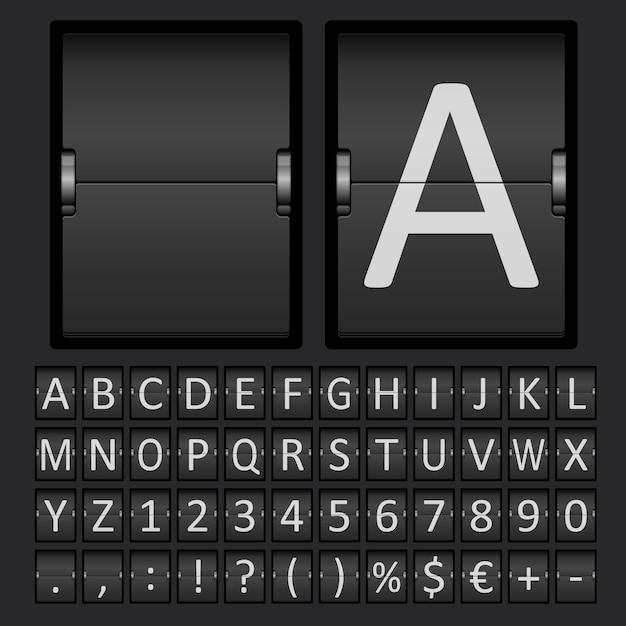 Tableau De Bord Avec Lettres Et Chiffres Dans Le Panneau Mécanique Vecteur gratuit