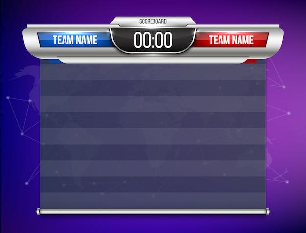 Tableau de bord numérique graphique de diffusion sportive. Vecteur Premium