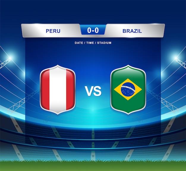 Tableau de bord pérou vs brésil diffusé football copa america Vecteur Premium