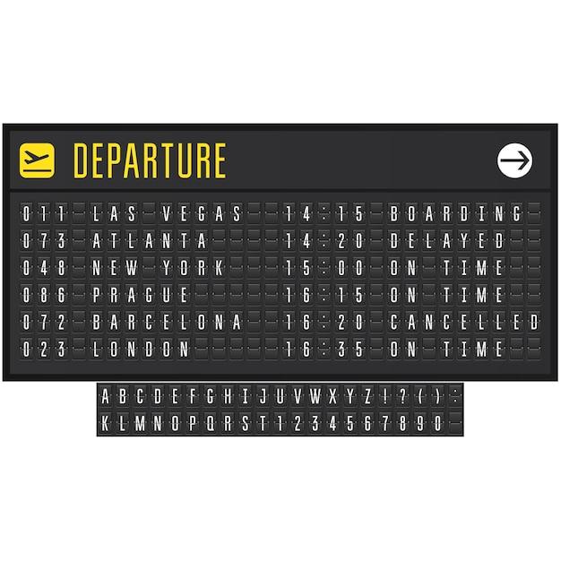 Tableau De Bord Réaliste D'aéroport Ou De Chemin De Fer Avec Symboles Flip - Tableau De Départ Vecteur Premium