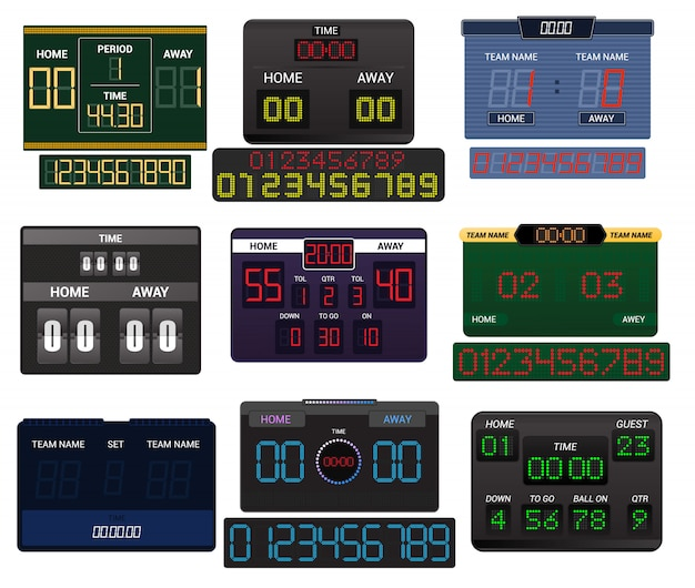 Tableau de bord vecteur tableau de bord affichage numérique football football sport équipe match compétition sur stade Vecteur Premium