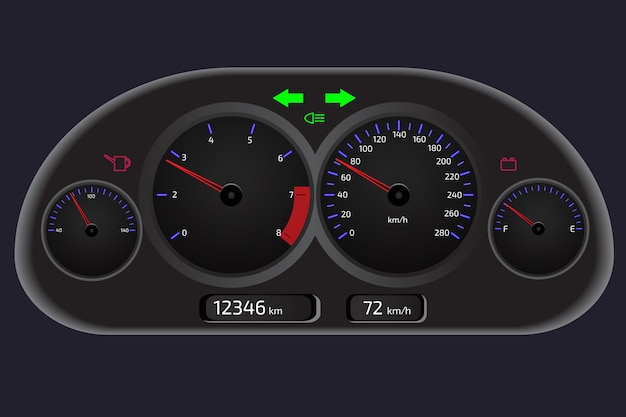Tableau De Bord De Voiture, Panneau De Commande D'automobile Vecteur Premium