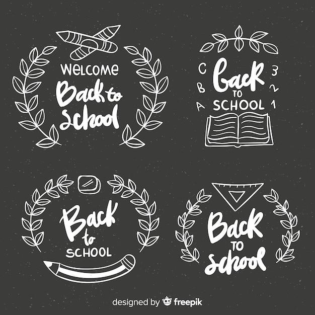 Tableau de collection de badges de retour à l'école Vecteur gratuit