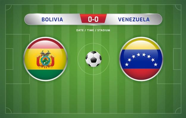 Tableau comparatif bolivie-venezuela diffusé au tournoi de football sud-américain 2019, groupe a Vecteur Premium