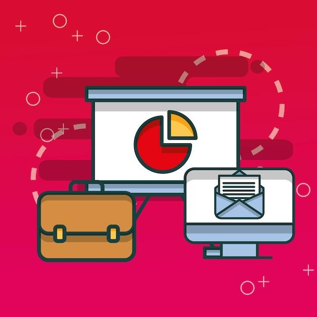 Tableau de courriels informatiques et porte-documents d'affaires Vecteur Premium