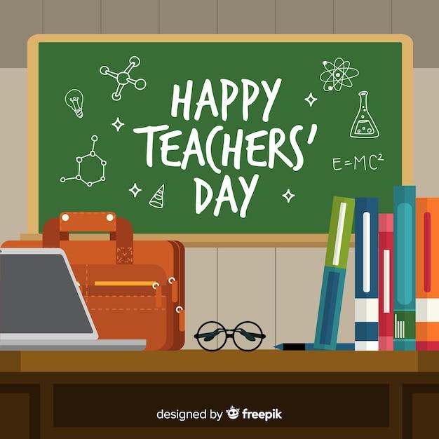 Tableau du jour des enseignants du monde dessiné à la main Vecteur gratuit