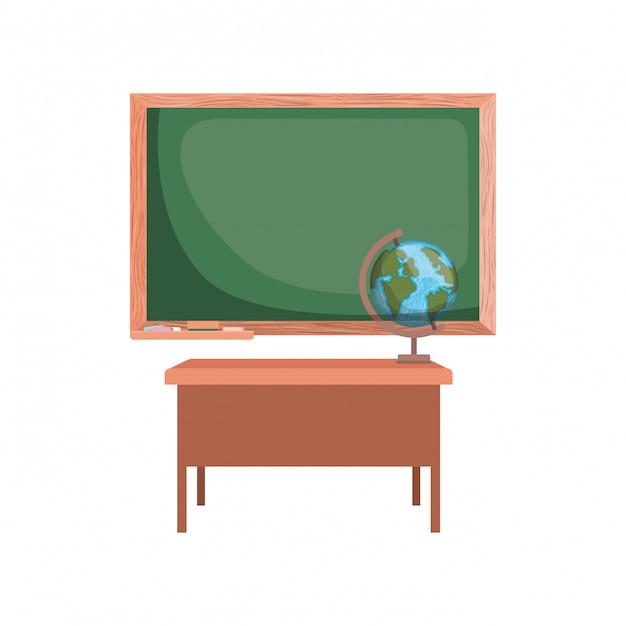 Tableau d'école en classe Vecteur Premium