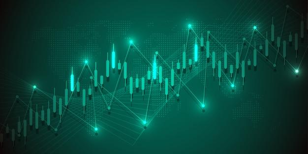Tableau graphique de bougie bâton de négociation des investissements en bourse Vecteur Premium