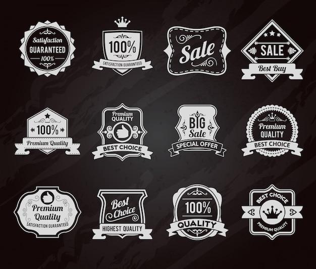 Tableau d'icônes de vente étiquettes tableau Vecteur Premium