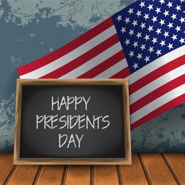 Tableau Noir De Célébration De La Journée Des Présidents Heureux Avec Le Drapeau National Des Usa Vecteur Premium